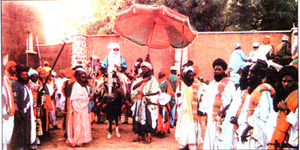"""A Traditional Procession on horse back during """"Hawan Daushe"""""""