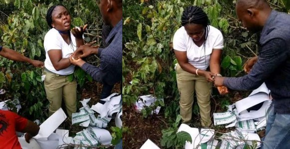 Female Corps member caught in the bush destroying ballot papers in Imo (Photos)
