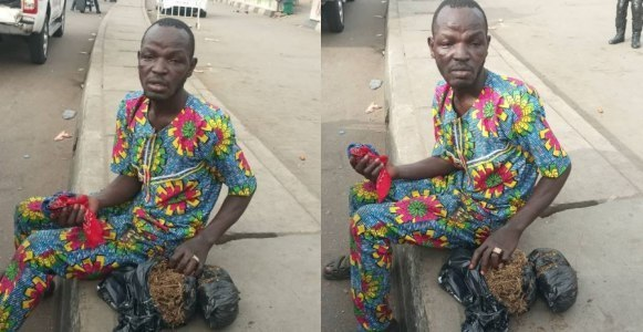 #NigeriansDecide2019: Man caught selling weed during election (Photos)