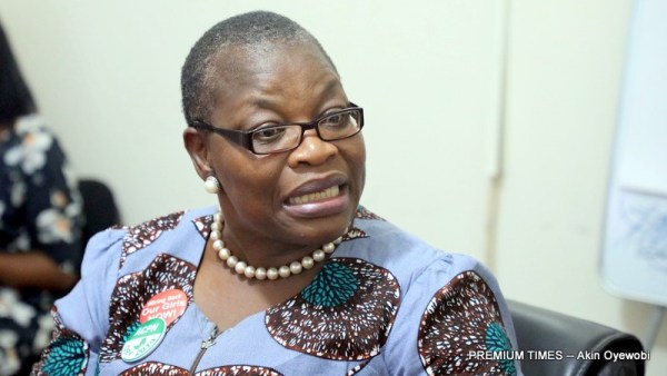 The presidential candidate of the Allied Congress Party of Nigeria (ACPN), Oby Ezekwesili in Premium Times office.