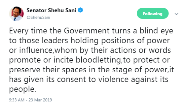 """""""Government Overlooking Leaders Promoting Bloodletting, Brings Violence"""" - Shehu Sani """
