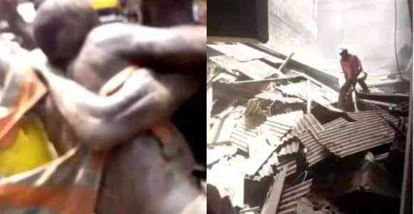 Many people trapped as another building collapses at Oke Arin, Lagos Island (Video)