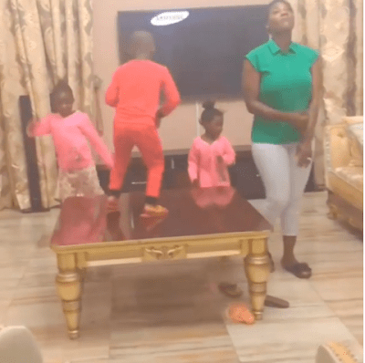 """My Friday Starts Today"" - Mercy Johnson Undergoes Dance Competition With Her 3 Kids"