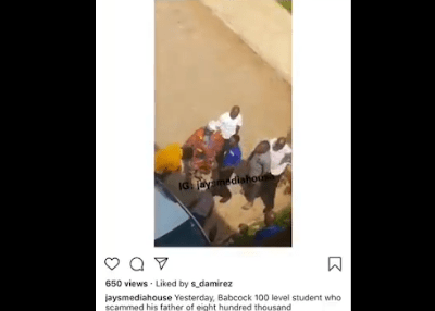Babcock 100 level Student Who Scammed His Father Of N800k Gets Beaten Up