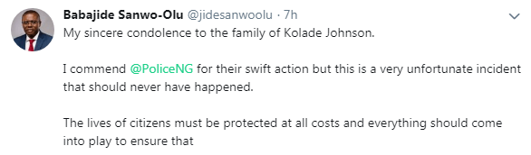 Sanwo-Olu Reacts To The Death Of Kolade Johnson, Killed By SARS