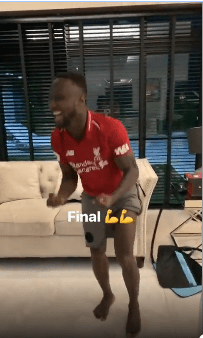 Injured Naby Keita Removes Recovery Pad To Celebrate Liverpool's Win