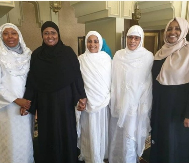 Aisha Buhari and First Ladies from other African countries pictured in Mecca for Hajj