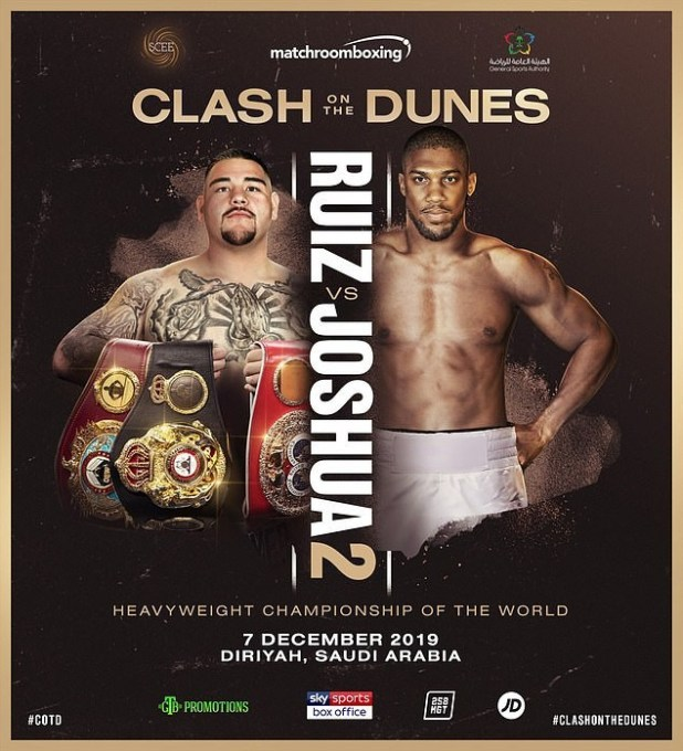 Anthony Joshua rematch with Andy Ruiz Jr to take place in Diriyah, Saudi Arabia on December 7