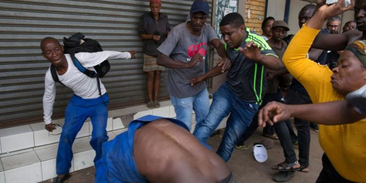 Man being attacked in South Africa