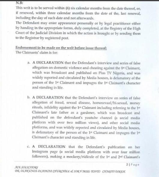 Churchill sues ex-wife Tonto Dikeh, demands N500 million