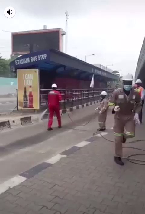 Lagos fumigates bus stops and others