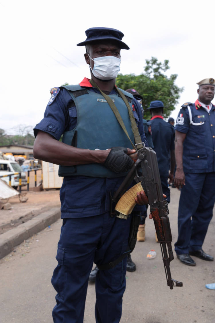 An officer from the NSCDC Lagos Command on ground