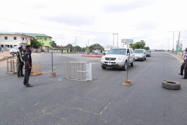 Blockade mounted at the entrance to Lagos state
