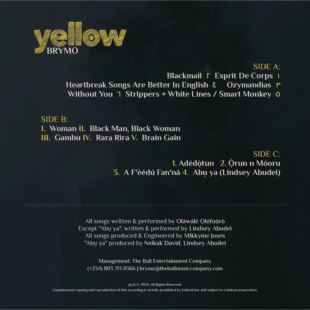 Brymo Yellow Tracklist