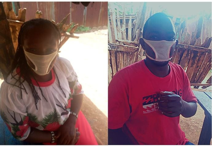 Residents of Kenyan community reduced to wearing panties fashioned into facemasks after they were duped by unscrupulous traders (photos)