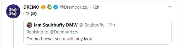 Davido's DMW signee, Dremo admits he is gay