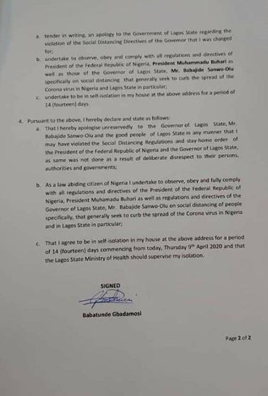 Houseparty: NairaMarley, Babatunde Gbadamosi, write apology letters to Gov. Sanwo-Olu, for violating the social distancing order