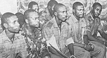 Capt. Harley Empere, Major Gideon Orkar, Capt. Perebo Dakolo, Lt. Cyril Ozoalor, and Lt. Nicholas Odeh at their trial