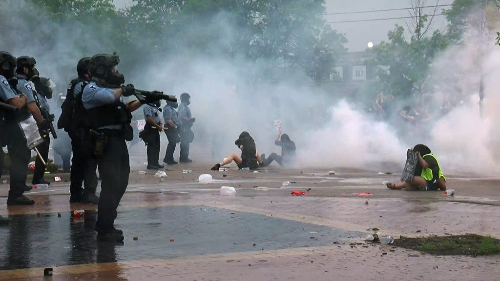 Protesters clash with police in US