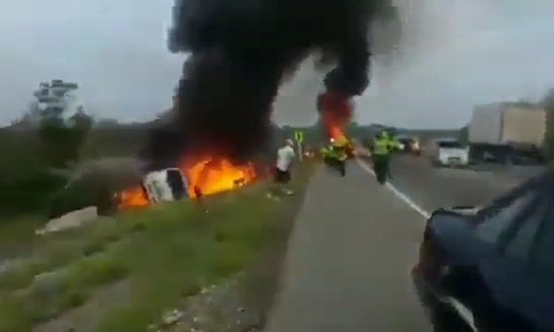 Fallen Tanker Explodes While People Were Scooping Fuel From It (Video)
