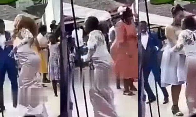 Moment Excited Bride Pulls Off Her Wig While Dancing At Her Wedding (Video)