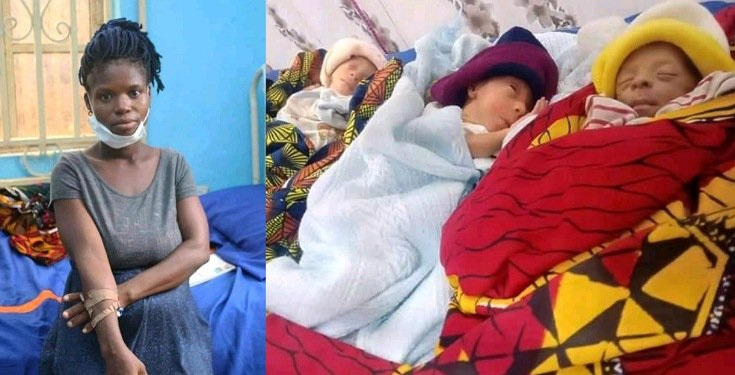 The graoundnut seller gave birth to triplets