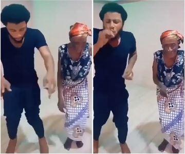 Man and Grandma dance