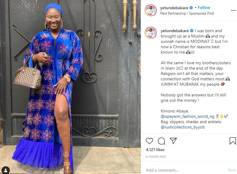 Religion does not matter ? Actress Yetunde Bakare says after converting from Islam to Christianity