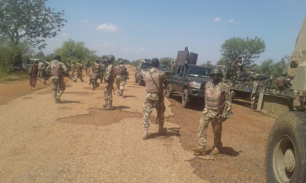 soldiers fire bombs at Boko Haram