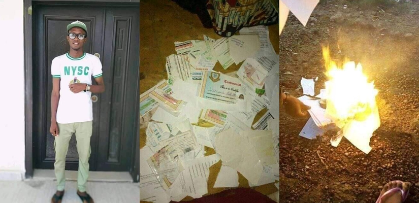 Nigerian Graduate Sets All His Certificates Ablaze Due To His Inability To Secure A Job [Photos] 1