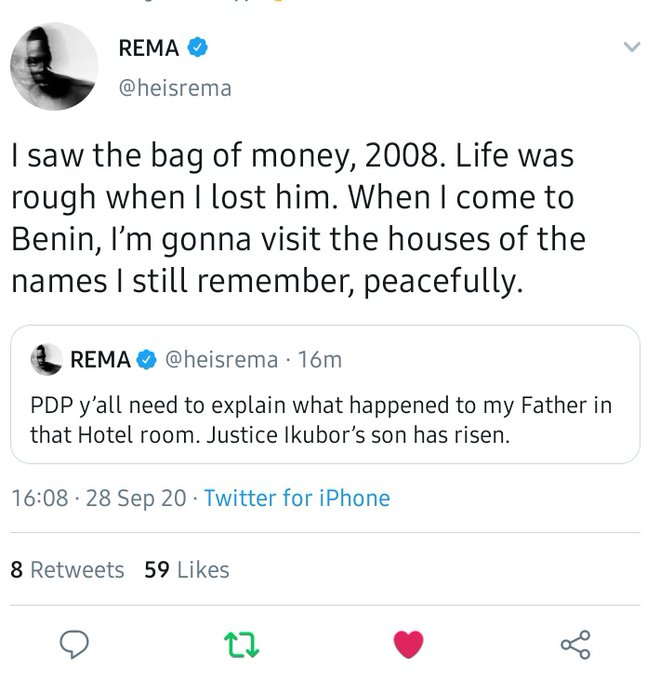 Rema Calls Out PDP, Says He Wants Explanations For The Death Of His Father, Justice Ikubor 2
