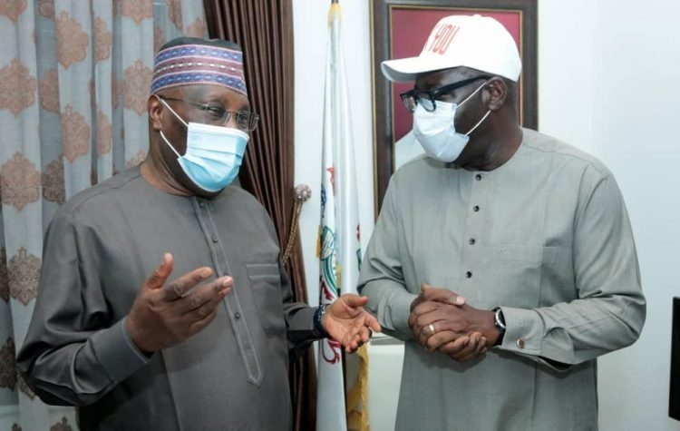 Atiku and Obaseki during the visit