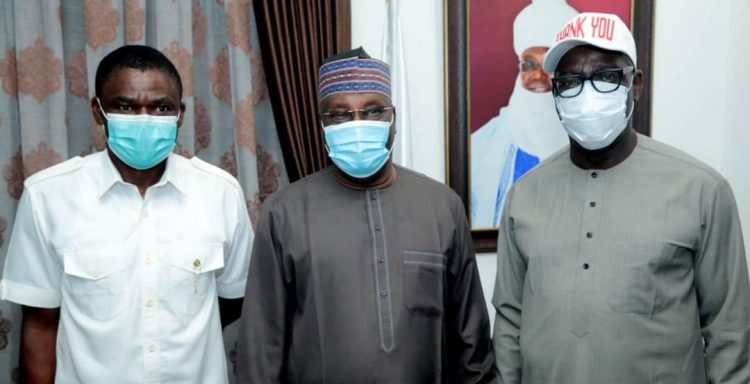L-R: Shaibu, Atiku and Obaseki during the visit