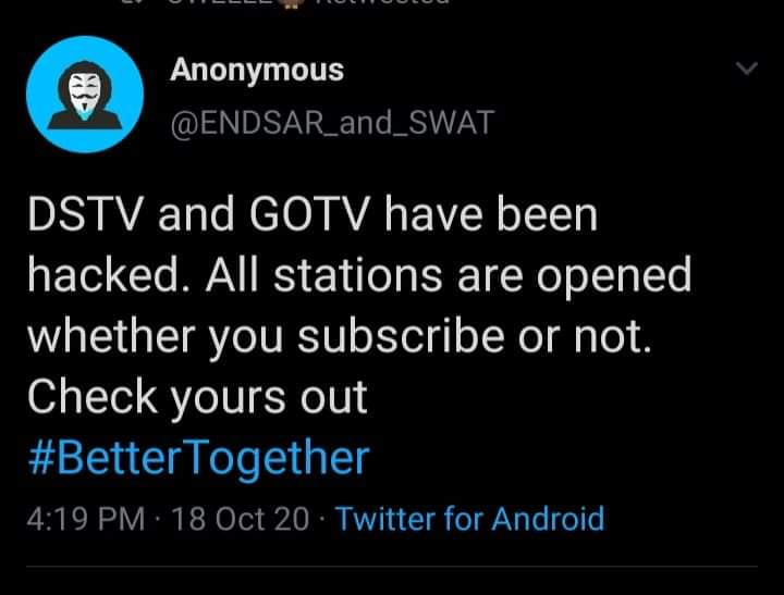 Anonymous Allegedly Hacks DSTV And GOTV, Makes All Channels Available For Free 1
