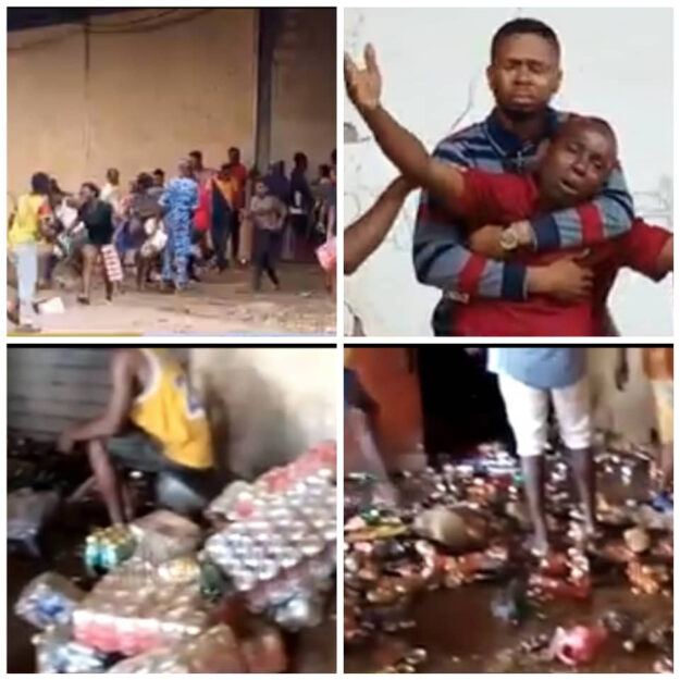 Business Owners Watch Helplessly As Hoodlums Break Into Their Warehouses, Cart Away Items In Edo (Video)