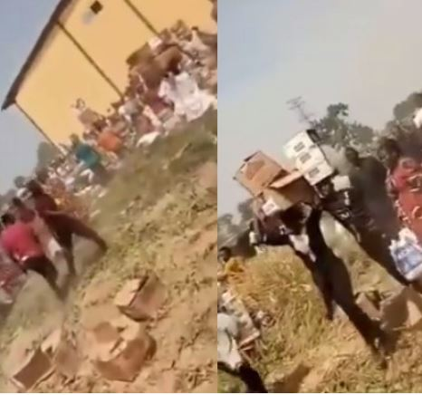 'Come And Collect Free Food' – Looters Shout As They Cart Away COVID-19 Palliatives In Adamawa Warehouse (Video)