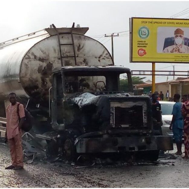 Commotion As Fire Guts Petrol Tanker In Front Of Ogun Governor's Office