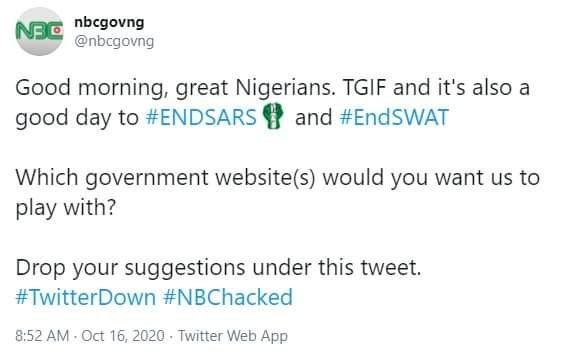 #EndSWAT Anonymous Hackers Takes Over Official Twitter Page of Nigeria's National Broadcasting Commission 2