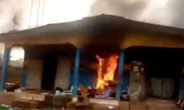 Another police station on fire in Lagos