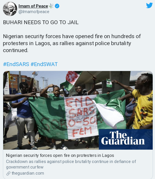 Lekki Massacre: Buhari Needs To Go To Jail For Killing #EndSARS Protesters – Imam Of Peace 2