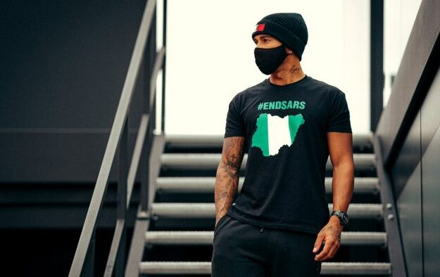 Lewis Hamilton dons #EndSARS T-shirt before record breaking race
