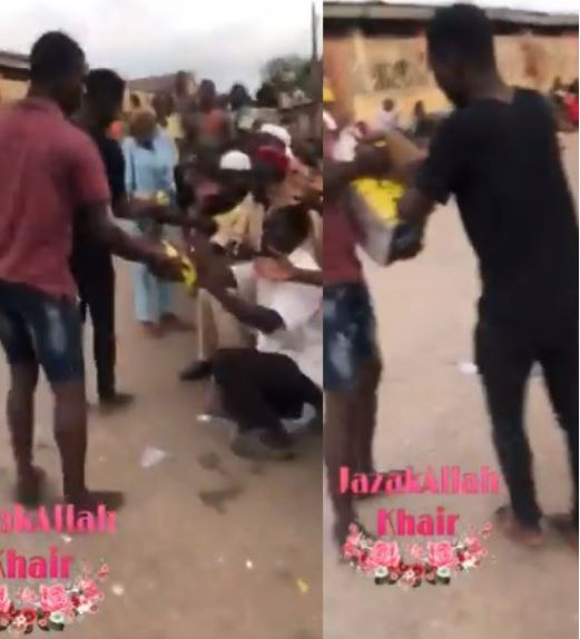 Nigerians Seen Distributing COVID-19 Palliatives To Beggars After Carting Them Away From A Warehouse (Video)