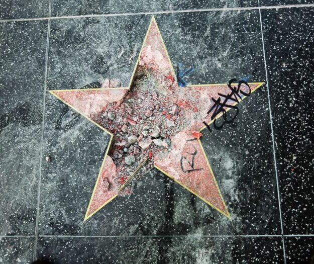Trump's Walk of Fame star damaged again by same man