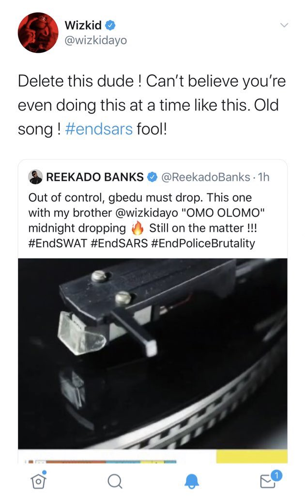 """Wizkid Calls Reekado Banks """"Fool"""" For Releasing A New Song With Him During #EndSARS Protest 2"""