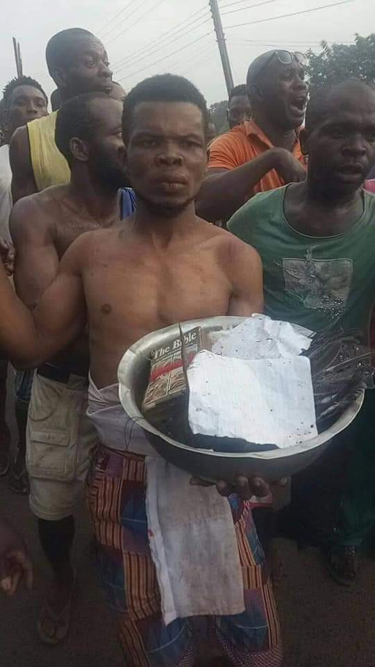 Anambra Pastor Allegedly Caught With Charms, Fetish Items In His Church [Photos/Video] 3