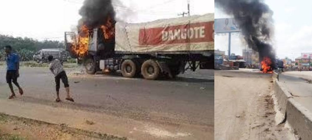 Angry Youths Burns Dangote Truck After Fleeing Driver Killed A Cart Pusher In Anambra 1