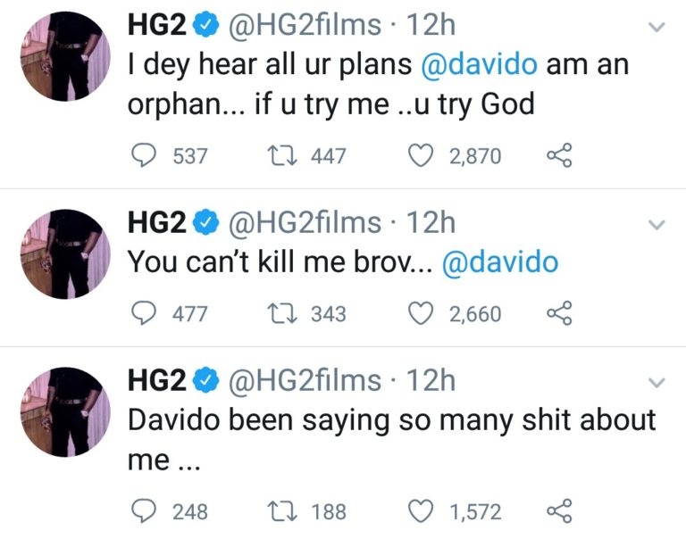 """""""If You Try Me, You Try God"""" - Filmmaker, HG2 Accuses Davido Of Planning To Kill Him 2"""