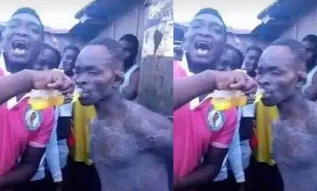 Moment Youths Revived Thief With Energy Drink for Another Round of Beating (Photo)