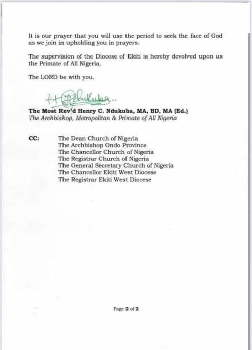 Anglican Church Suspends Ekiti Bishop After He Confessed To Having Sεx With Priest's Wife 3