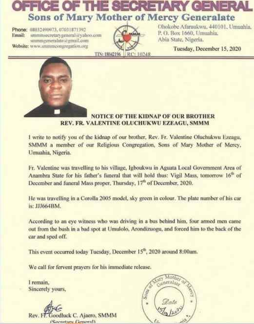 Catholic Priest Abducted By Gunmen In Imo While Traveling For His Father's Burial In Anambra 2